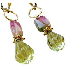 Watermelon Tourmaline Lemon Quartz Pink and green Gold filled Tourmaline earrings by Gem Bliss Jewelry