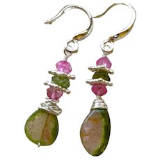 Dainty Watermelon Tourmaline Slice and Topaz Sterling Silver Earrings by Gem Bliss Jewelry