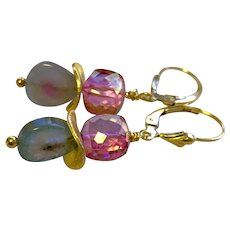 Tourmaline Earrings Indicolite and Rubellite Slices on Gold filled lever back earrings by Gem Bliss Jewelry
