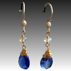 Blue Kyanite and Welo Opal dainty drop Earrings Gold filled, October birthstone