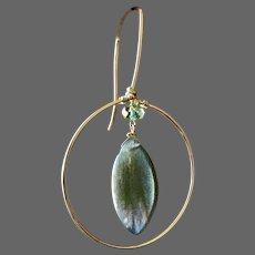 Labradorite Gold filled Hoop Earrings Halo Hoops Leaf shape Autumn Earrings