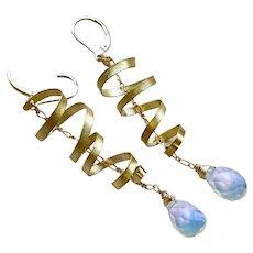 Opalite Ribbons Golden lever back Earrings