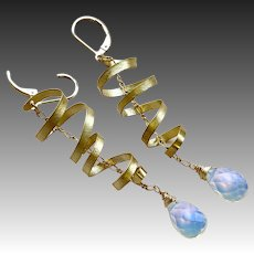 Opalite Ribbons Golden lever back Earrings