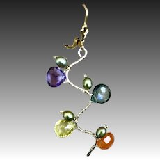 Tourmaline Twig earrings, Rainbow Tourmaline Branch earrings, Gold filled leverback earrings by Gem Bliss jewelry