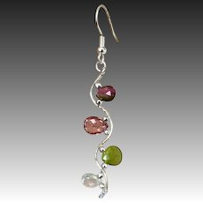 Pink Tourmaline Silver Vine Twig watermelon colors drop Earrings