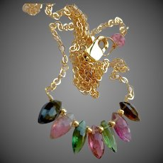 Watermelon Tourmaline bar style hand wire wrapped 14k Gold filled layering Necklace