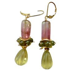 Tourmaline Earrings delicate Pink and green Watermelon Tourmaline and fluted Lemon drop earrings from Gem Bliss Jewelry