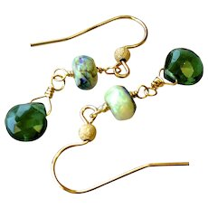 Opal and Chrome Diopside Drop earrings, Sterling Opal disk bead with Green Diopside briolette Gold filled drops by Gem Bliss Jewelry