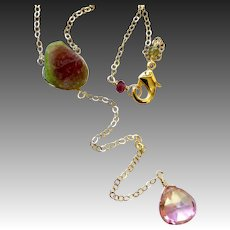 Watermelon Tourmaline Topaz Pendant Gold filled Necklace by Gem Bliss Jewelry