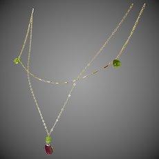 Peridot and Tourmaline Layering Gold filled 2 strand Necklace
