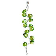 Peridot Silver Vine Twig Earrings