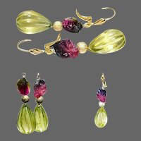 Tourmaline Lemon Quartz Gold Leverback Earrings