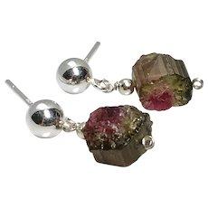 Tiny Raw Tourmaline Silver Ball Stud Earrings Dainty Tourmaline Silver Ball Post dangle earrings, Tourmaline drop earrings by Gem Bliss Jewelry