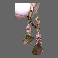 Dainty Raw Tourmaline and Topaz lever back Earrings Pink Topaz Tourmaline dangle earrings, Tourmaline drop earrings by Gem Bliss Jewelry