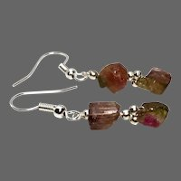 Watermelon Tourmaline Double petite Raw gemstone nuggets Silver dangle drop earrings