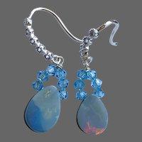 Boulder Opal crystals dangle drop Earrings by Gem Bliss Jewelry