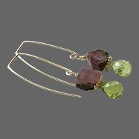 Modern Raw Watermelon Tourmaline nuggets with Peridot on Gold filled threader style earrings by Gem Bliss Jewelry
