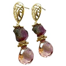 Raw Watermelon Tourmaline and pink briolettes on Gold oval filigree Silver Posts Earrings by Gem Bliss Jewelry