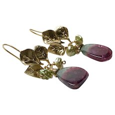 Watermelon Tourmaline Earrings large gem crystal slices plum red  Rubellite and blue Indicolite