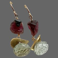 Watermelon Tourmaline and Prehnite Gold earrings red and green sparklers for your lobes by Gem Bliss Jewelry