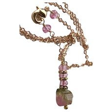 Rose Gold Tourmaline Necklace, Raw Watermelon Tourmaline nugget Topaz pendant necklace by Gem Bliss Jewelry