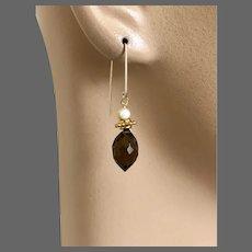 Modern Smoky Quartz Gold Drop Earrings, coffee color earrings, smokey dainty modern gold hook earrings by Gem Bliss Jewelry