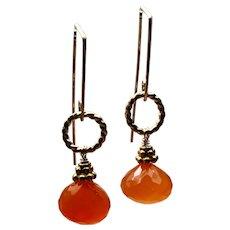 Dainty Orange Carnelian Earrings, sparkling Onion-cut Carnelian gemstone on minimal modern Gold hooks by Gem Bliss Jewelry
