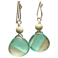 Bicolor Fluorite Earrings, sparkling faceted heart gemstone on minimal modern Gold hooks by Gem Bliss Jewelry
