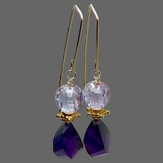 Violet Amethyst and Cubic Zirconium Earrings, sparkling purple combination on minimal modern Gold hooks by Gem Bliss Jewelry