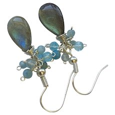 Labradorite Silver Moonstone and crystals dangle drop Earrings by Gem Bliss Jewelry