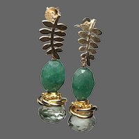 Emerald and Prasiolite Green Earrings, sparkling Onion-cut Prasiolite gemstone on leafy Post Earrings by Gem Bliss Jewelry