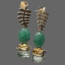 Emerald and Prasiolite Green Earrings, sparkling Onion-cut Prasiolite gemstone on leafy Post Earrings by Gem Bliss Jewelry
