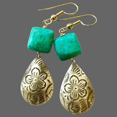 Turquoise Stamped Brass Gold filled earrings Camp Sundance by Gem BLiss Jewelry