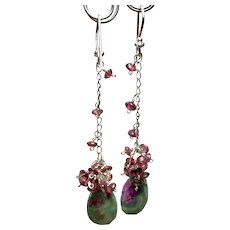 Dripping Garnet Silver earrings, Ruby Zoisite, and Garnet drop Earrings
