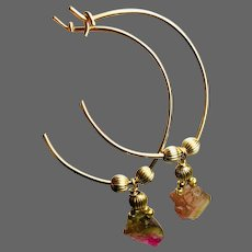Watermelon Tourmaline Gold filled 1-inch Hoop Earrings by Gem Bliss Jewelry