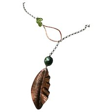 Peridot Pearl Copper Leaf Lariat Necklace Rhodium coated Silver attractive long chain by Gem Bliss Jewelry