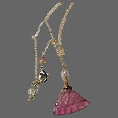 Pink Tourmaline pendant necklace Rubellite Tourmaline carved fan Gold filled Necklace by Gem Bliss Jewelry