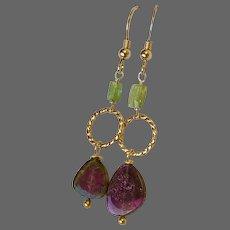 Large Watermelon Tourmaline Slice Earrings Pink and green Gold Hook Earrings by Gem Bliss Jewelry …
