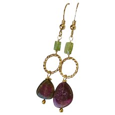 Large Watermelon Tourmaline Slice Earrings Pink and green Gold Hook Earrings by Gem Bliss Jewelry …