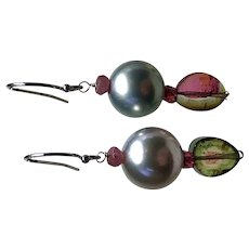 South Sea Pearl Watermelon Tourmaline Earrings 14K White Gold pink and green Pearl earrings by Gem Bliss Jewelry