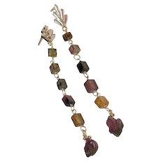 Long Tourmaline Earrings, Gold Rainbow Tourmaline drop Earrings by Gem Bliss Jewelry
