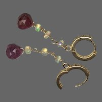 Ruby and Opal lever back CZ hoop earrings by Gem Bliss Jewelry