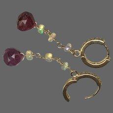 Ruby and Opal lever back CZ hoop earrings by Gem Bliss Jewelry