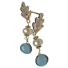 London Blue Topaz, gleaming freshwater cultured Pearl, sparkling CZ stud post Gold filled earrings by Gem Bliss Jewelry
