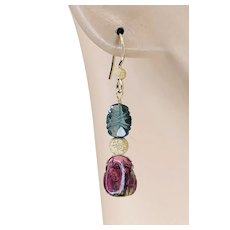 Watermelon Tourmaline Slice with carved blue Tourmaline drop Gold filled Earrings