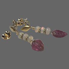Pink Tourmaline Welo Opal and dainty CZ studded leaf stud post earrings