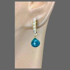 Emerald briolette Gold filled Demi hoop stud post Earrings by Gem Bliss Jewelry
