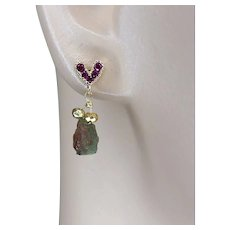 Raspberry CZ Gold filled heart stud post earrings with Raw Watermelon Tourmaline dangles by Gem Bliss Jewelry