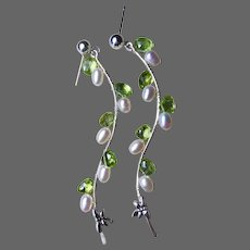 Gem Peridot White Pearl Silver Twig Vine drop Earrings by Gem Bliss Jewelry