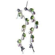 Gem Peridot White Pearl Silver Twig Vine drop Earrings by Gem Bliss Jewelry